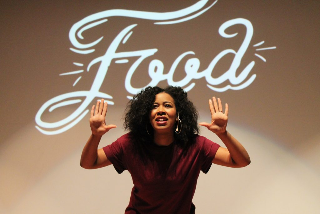 "Rhonda in her one woman show ""Food"""