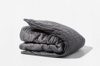 Grey Gravity Blanket folded in a square on a white background