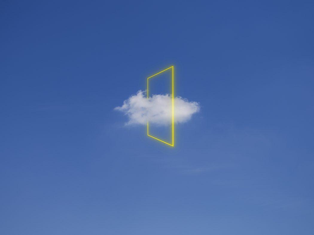 Yellow light rectangle around cloud