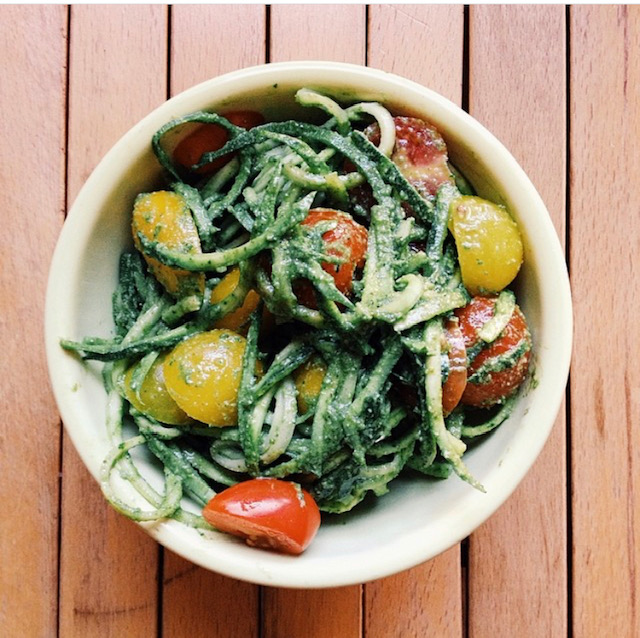 beautiful bowl of zucchini noodles with tomatoes